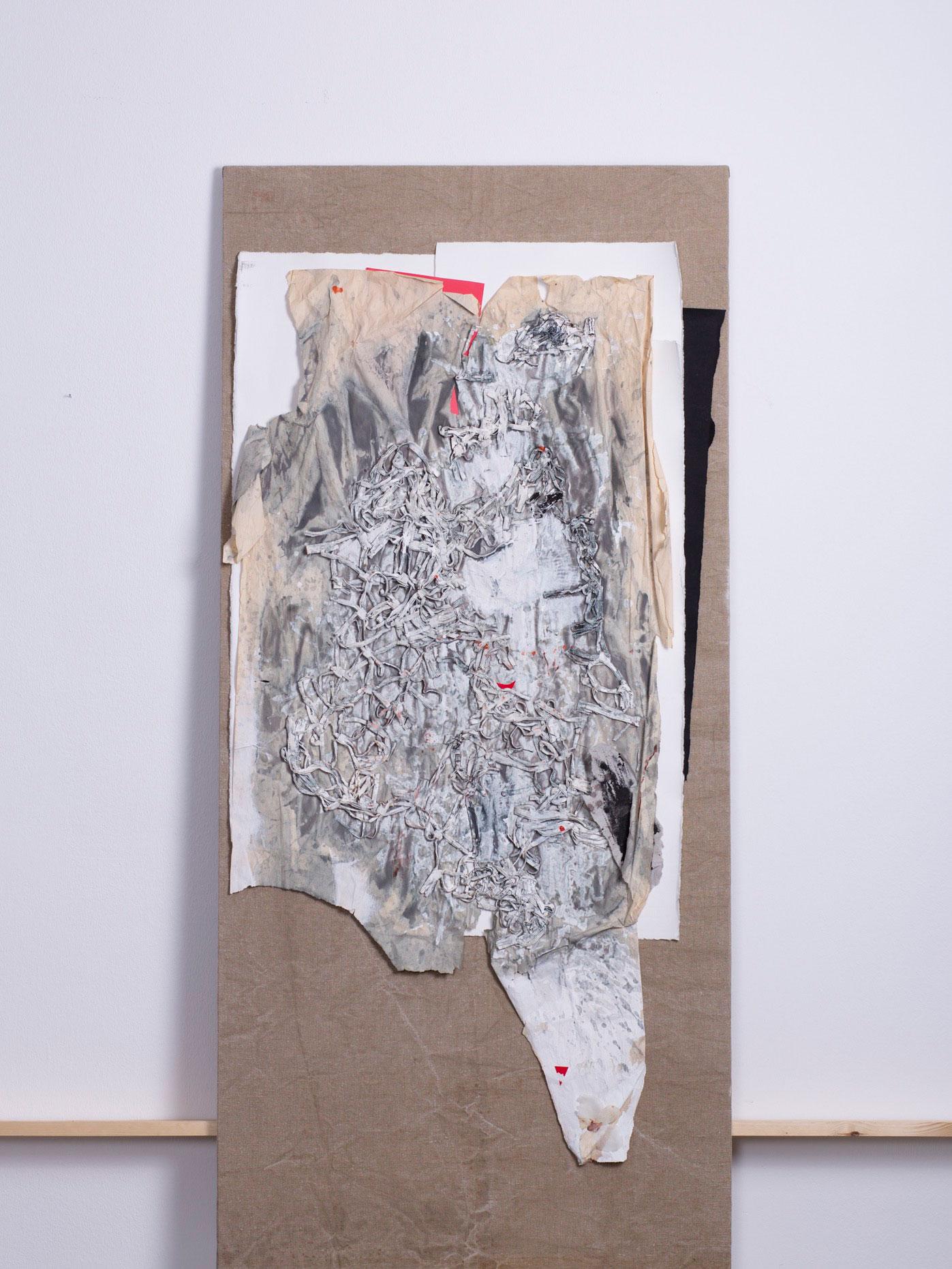 Antikoons, 2013 - 70x150 cm, Verpackungsmaterial und Abrisspapier auf rohem Sackleinen