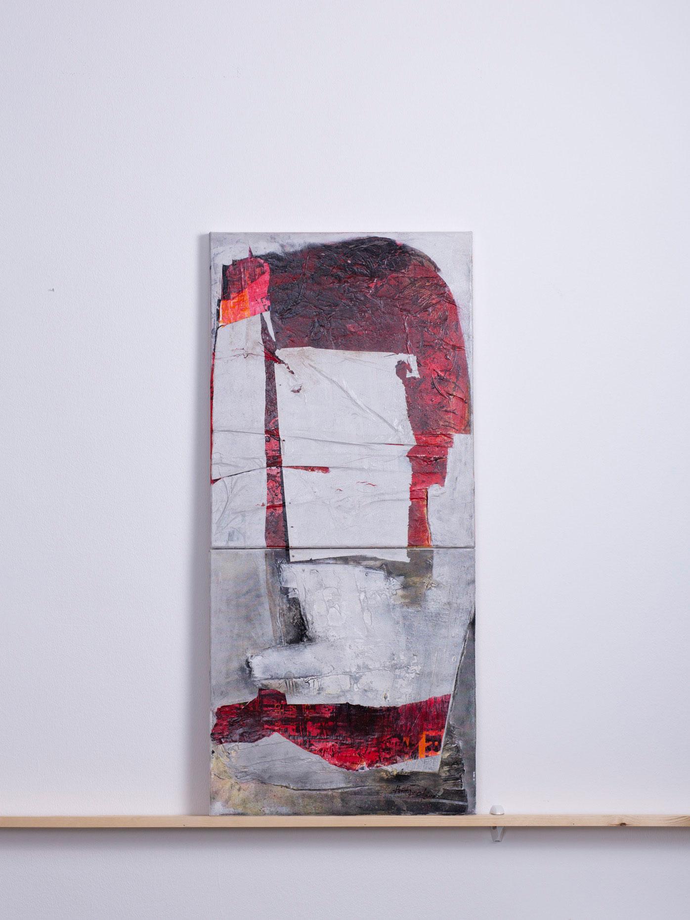 attila.de, 2010 - 50x110,5 cm, <br>Acryl und Papier auf zwei Leinwänden, verbunden