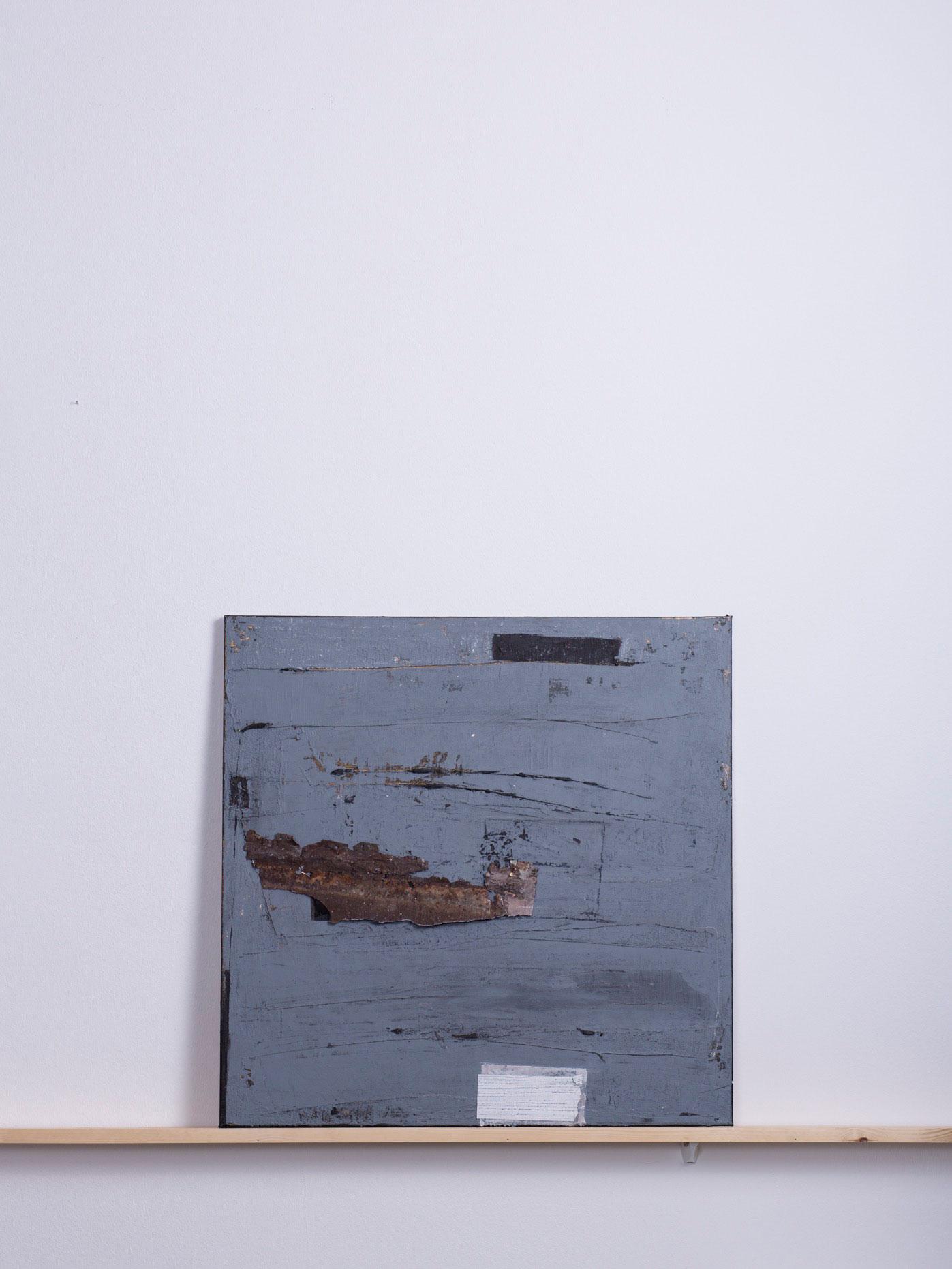 Ferrytau, 2011 - 70x70 cm, <br>Acryl, Kreide und Rostblech auf Leinwand