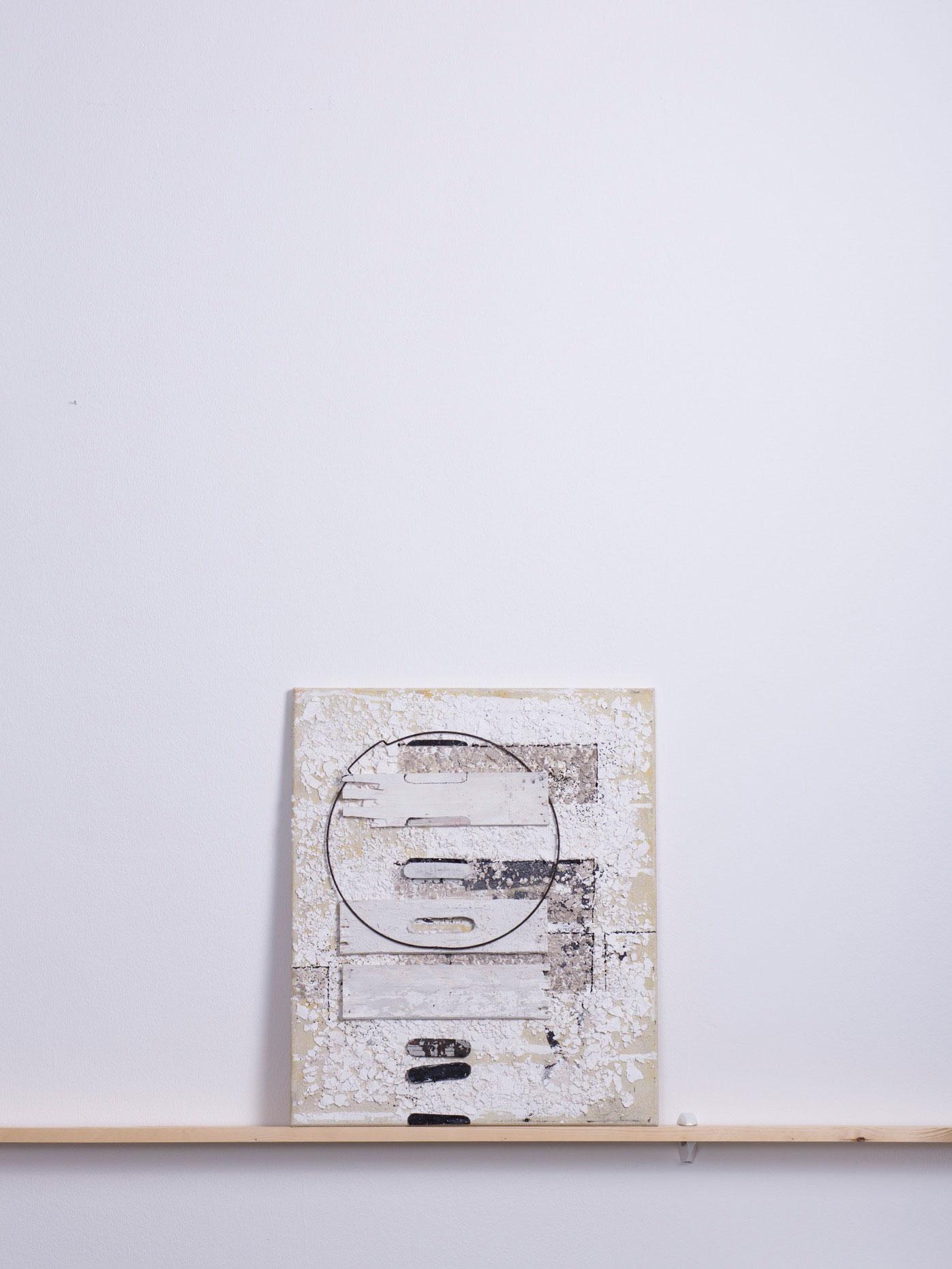 Kalkreis, 2011 - 50x60 cm, <br>Acryl, Holz und Draht auf Leinwand