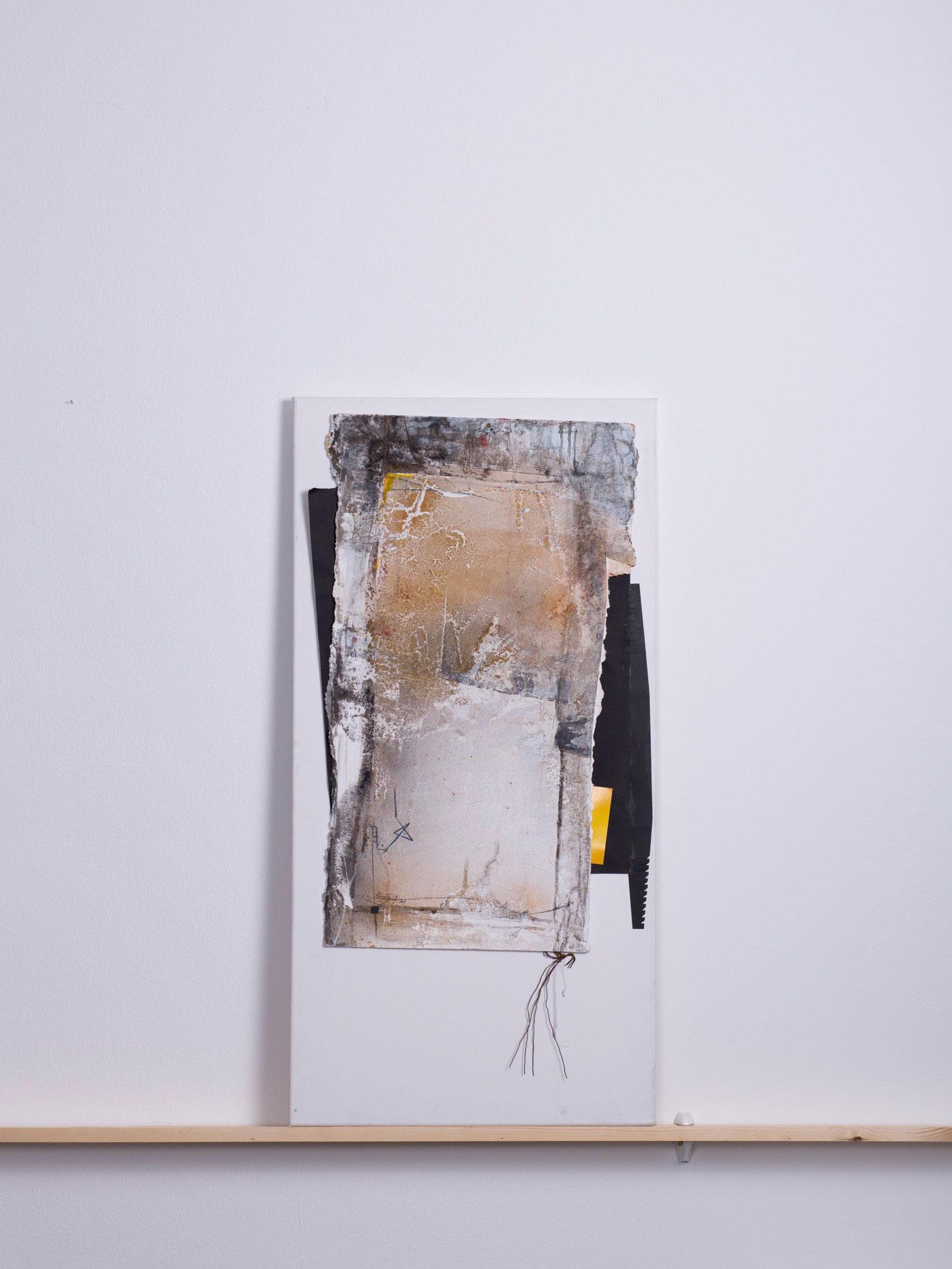 kokel-au, 2009 - 50x100 cm, <br>Acryl auf Abrisskarton, Papier, Draht auf Leinwand