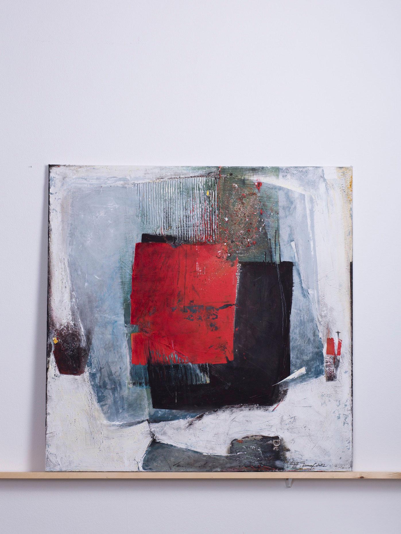nickel-broom, 2012 - 100x100 cm,<br> Acryl und Pappe auf Leinwand