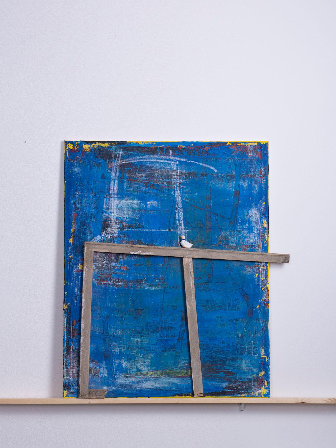 regnum anas, 2013 - 80c100 cm,<br> Acryl, Holz und Kreide auf Leinwand