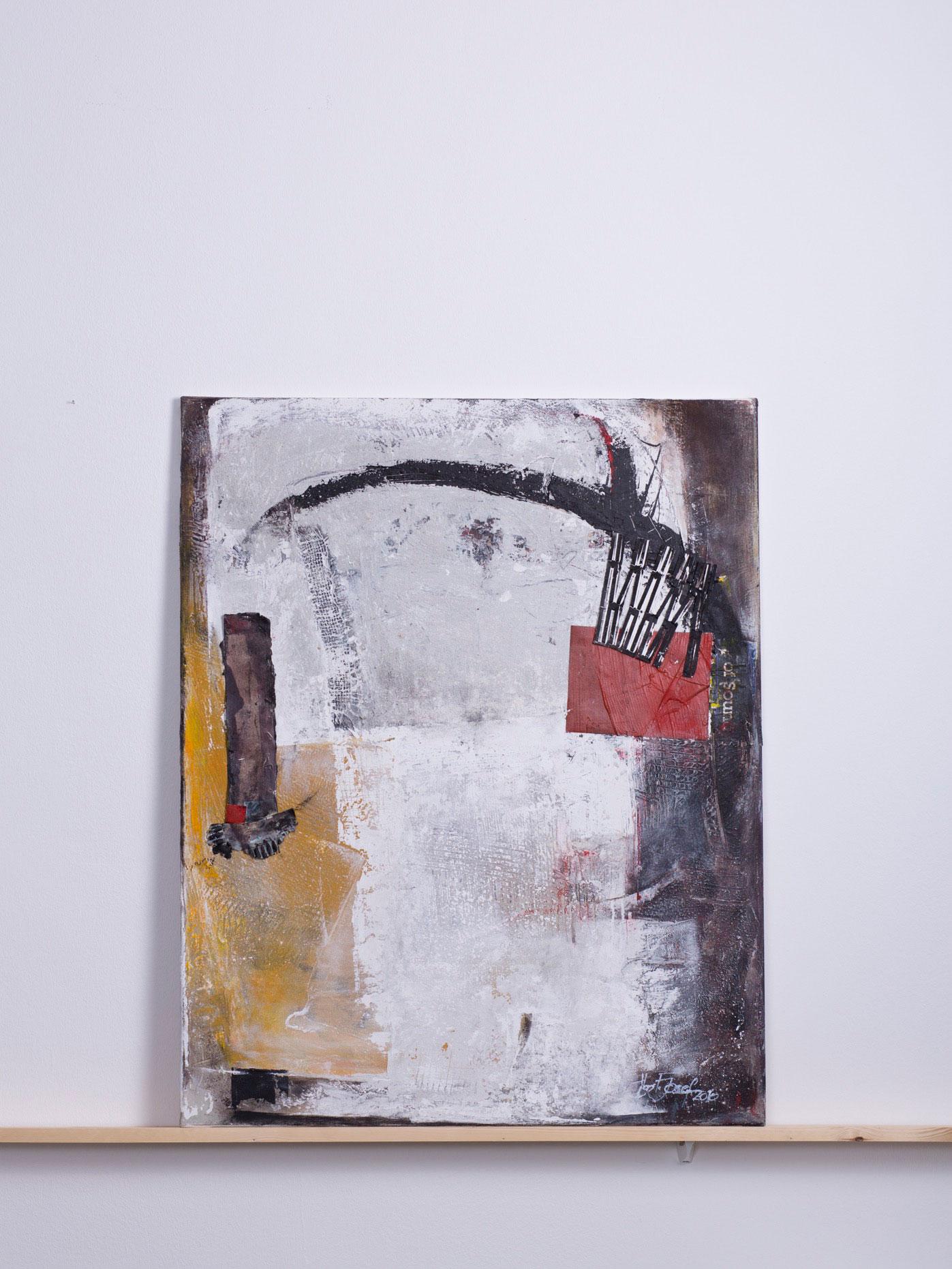 segerkegel, 2010 - 80x100 cm, <br>Acryl und Papier auf Leinwand