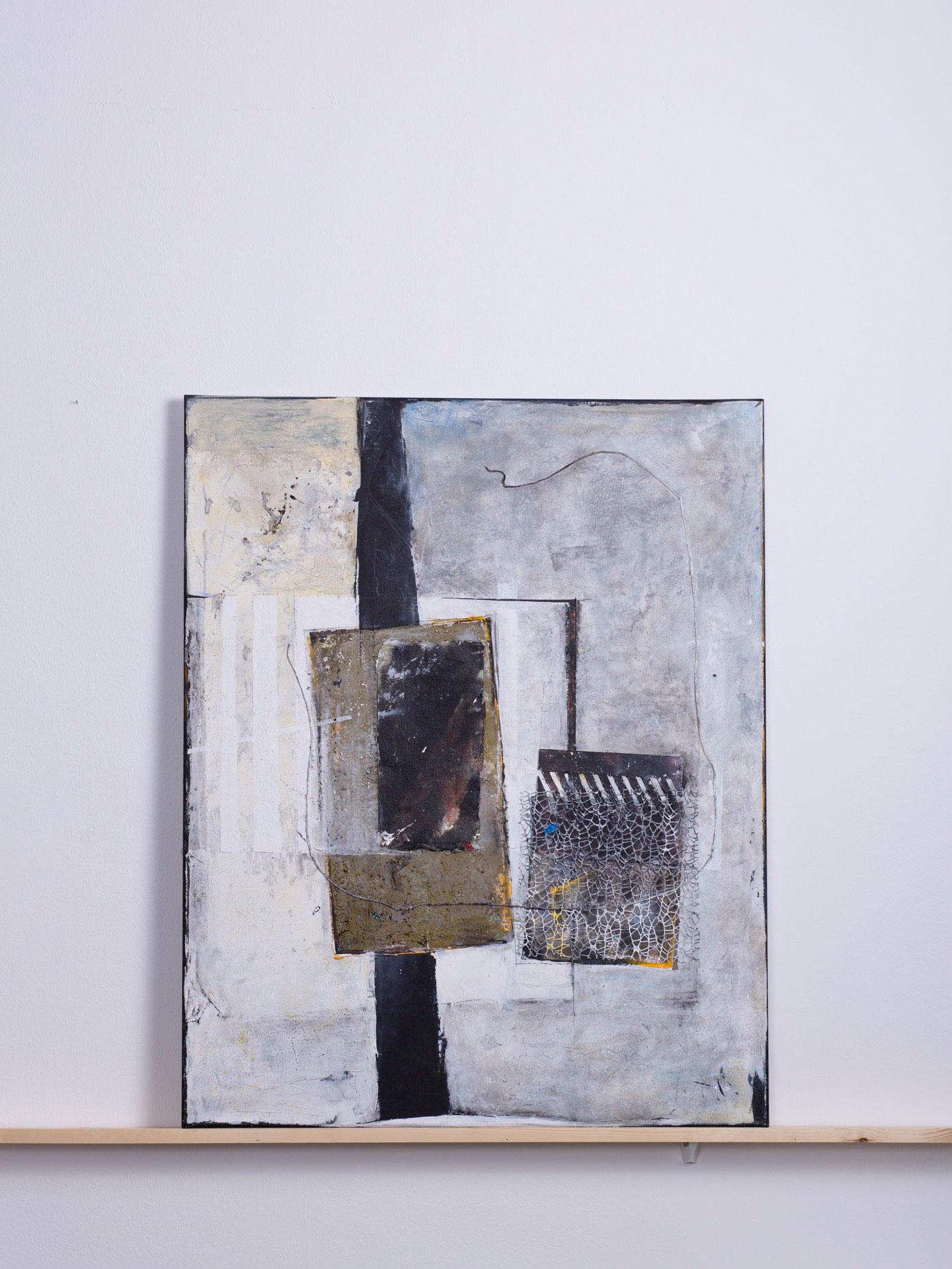 Teonoor, 2013 - 80x100 cm,<br> Acryl, Sand, Pappe und Netz auf Leinwand