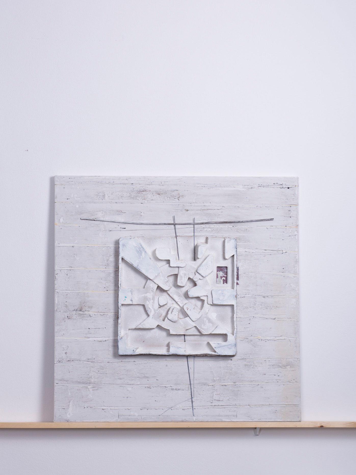 Turborum, 2012 - 90x90 cm, <br>Acryl, Spachtel und Karton auf Leinwand
